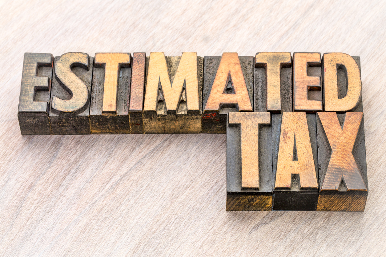 Estimated Taxes - estimated tax word abstract in vintage lettepress wood type