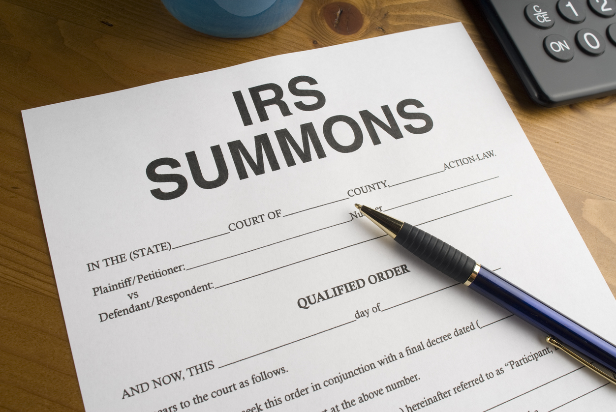 IRS Summons on a desktop