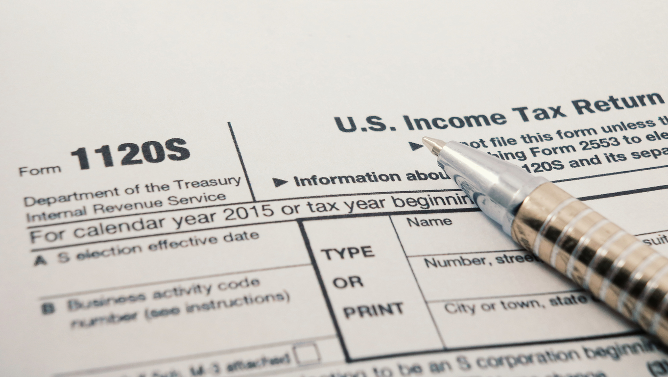 Close up shot of United States Internal Revenue Service IRS tax return form 1120S for small corporations also known as an S Corp